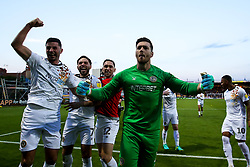 Joe Day of Newport County and his teammates celebrate after winning through to the Sky Bet League Two Playoff Final - Mandatory by-line: Robbie Stephenson/JMP - 12/05/2019 - FOOTBALL - One Call Stadium - Mansfield, England - Mansfield Town v Newport County - Sky Bet League Two Play-Off Semi-Final 2nd Leg