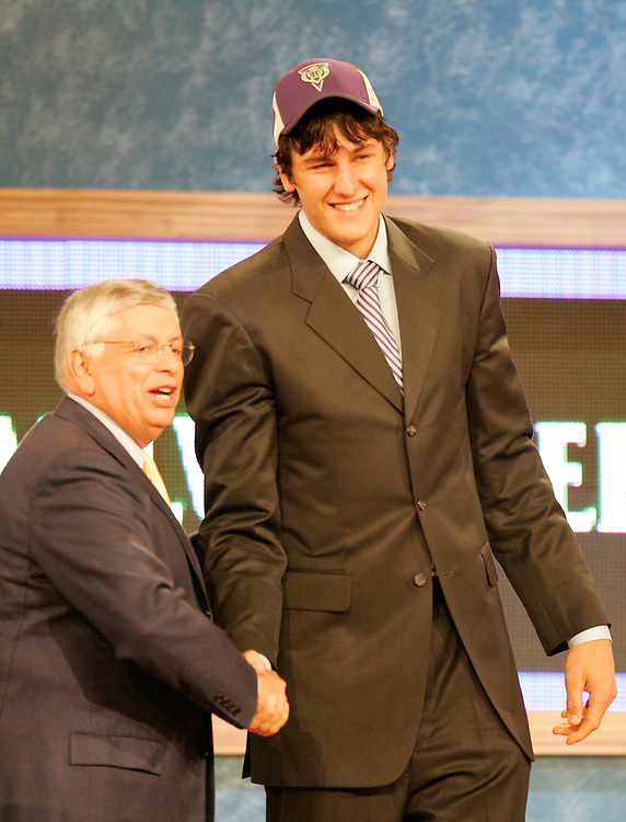 Andrew Bogut of Australia shakes hands with NBA Commissioner David Sternoverall pick in the 2005 NBA draft at Madison Square Garden in New York City Tuesday 28 June 2005.