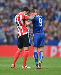 Jamie Vardy of Leicester City clashes heads with Jose Fonte of Southampton - Mandatory by-line: Alex James/JMP - 03/04/2016 - FOOTBALL - King Power Stadium - Leicester, England - Leicester City v Southampton - Barclays Premier League