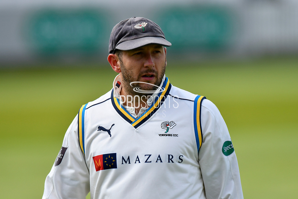 Tim Bresnan of Yorkshire during the third day of the Specsavers County Champ Div 1 match between Somerset County Cricket Club and Yorkshire County Cricket Club at the Cooper Associates County Ground, Taunton, United Kingdom on 29 April 2018. Picture by Graham Hunt.