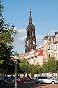 Königstraße und Dreikoenigskirche, Neustadt, Dresden, Sachsen, Deutschland.|.King Street, Three Kings Church, Dresden Neustadt, Dresden, Germany