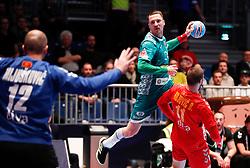 13.01.2020, Stadthalle, Graz, AUT, EHF Euro 2020, Montenegro vs Weissrussland, Gruppe A, im Bild von links Mile Mijuskovic (MNE), Maksim Baranau (BLR) und Branko Vujovic (MNE) // from l to r Mile Mijuskovic (MNE) Maksim Baranau (BLR) and Branko Vujovic (MNE) during the EHF 2020 European Handball Championship, group A match between Montenegro and Belarus at the Stadthalle in Graz, Austria on 2020/01/13. EXPA Pictures © 2020, PhotoCredit: EXPA/ Erwin Scheriau