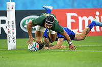 Rugby Union - 2019 Rugby World Cup - Pool B: South Africa vs. italy <br /> <br /> Cheslin Kolbe of South Africa scores s try at Shizouka Stadium Ecopa.<br /> <br /> COLORSPORT/LYNNE CAMERON
