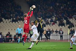 November 23, 2017 - Athens, Attiki, Greece - Goalkeeper of Rijeka Andrej Prskalo (no 32) stops the opportunity of Aek to score. (Credit Image: © Dimitrios Karvountzis/Pacific Press via ZUMA Wire)