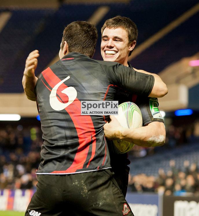 Lee Jones celebrate's his try with Stuart McInally, Edinburgh Rugby v London Irish, Heineken Cup, Murrayfield Stadium