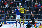 Carlisle United Midfielder Jason Kennedy jumps for the ball during the Sky Bet League 2 match between Carlisle United and Oxford United at Brunton Park, Carlisle, England on 30 April 2016. Photo by Craig McAllister.