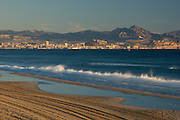 Alicante city from Urbanova beach, Alicante, Valencia, Spain, Europe