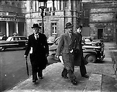 1953 - Members arriving at Leinster House at the resumption of the Dail after Christmas recess.