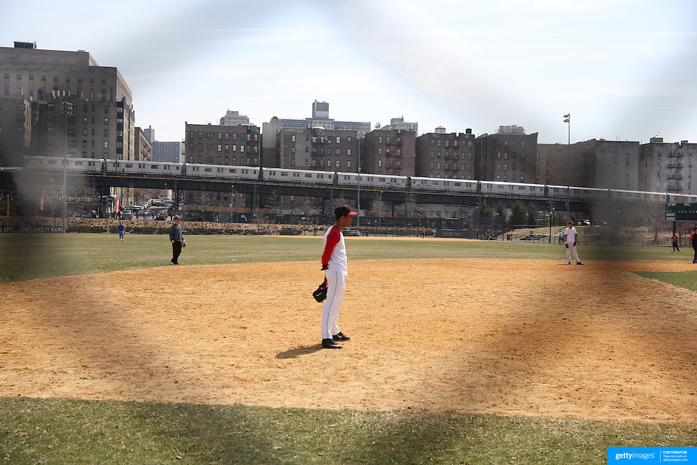 A baseball team practice in Heritage Field next to Yankee Stadium before the New York Yankees Vs Toronto Blue Jays season opening day at Yankee Stadium, The Bronx, New York. 6th April 2015. Photo Tim Clayton