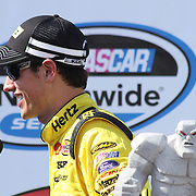 Joey Logano (22) interviews with NASCAR sports after winning the NASCAR Nationwide Series 5-HOUR ENERGY 200 auto race Saturday,  June 01, 2013 at Dover International Speedway in Dover, DE.