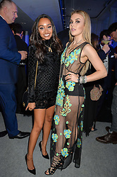 Left to right, singers LEIGH-ANNE PINNOCK and TALLIA STORM at the Maserati Levante VIP Launch party held at the Royal Horticultural Halls, Vincent Square, London on 26th May 2016.