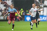 Kate Longhurst (West Ham) & Rachel Furness (Tottenham Hotspur) during the FA Women's Super League match between West Ham United Women and Tottenham Hotspur Women at the London Stadium, London, England on 29 September 2019.