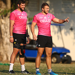 Ruan Botha of the Cell C Sharks with Andre Esterhuizen of the Cell C Sharks during the Cell C Sharks training, Jonsson Kings Park Stadium,Durban South Africa.27,06,2018 Photo by (Steve Haag REX Shutterstock )