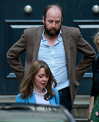 © Licensed to London News Pictures. 09/06/2017. London, UK. NICK TIMOTHY and FIONA HILL, advisors to leader of the conservative party Theresa May, are seen leaving Conservative Party headquarters on the morning of the general election results. Photo credit: Ben Cawthra/LNP