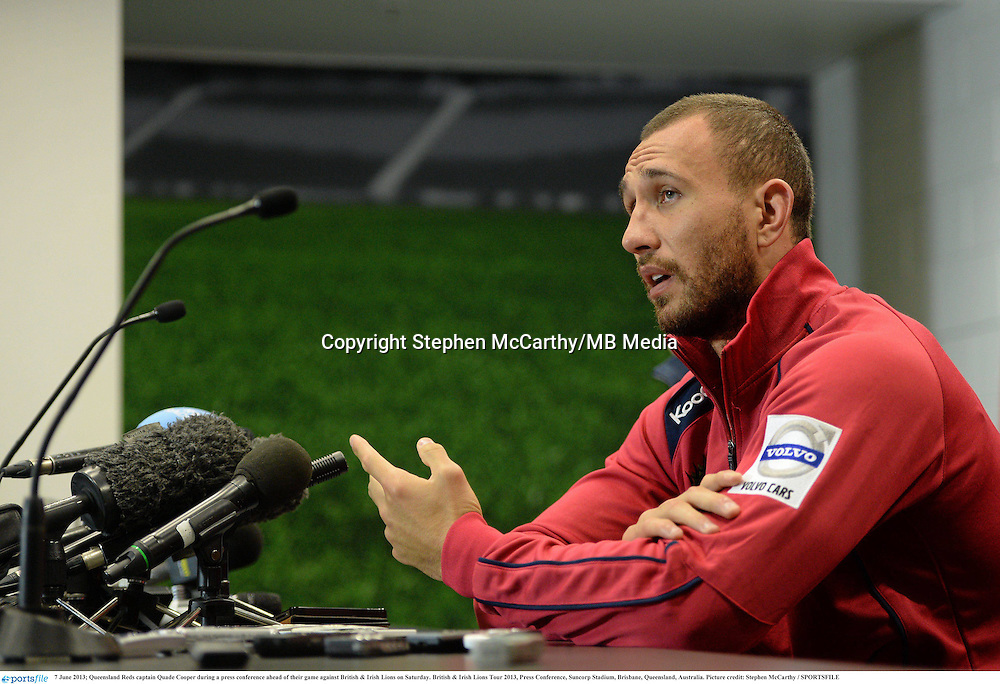 7 June 2013; Queensland Reds captain Quade Cooper during a press conference ahead of their game against British & Irish Lions on Saturday. British & Irish Lions Tour 2013, Press Conference, Suncorp Stadium, Brisbane, Queensland, Australia. Picture credit: Stephen McCarthy / SPORTSFILE