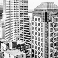 Indianapolis aerial black and white panorama photo with downtown Indianapolis city office buildings and skyscrapers including Chase Tower, OneAmerica Tower, One Indiana Square (Regions building), Market Tower (Key Bank building), and BMO Plaza. Panoramic ratio is 1:3.