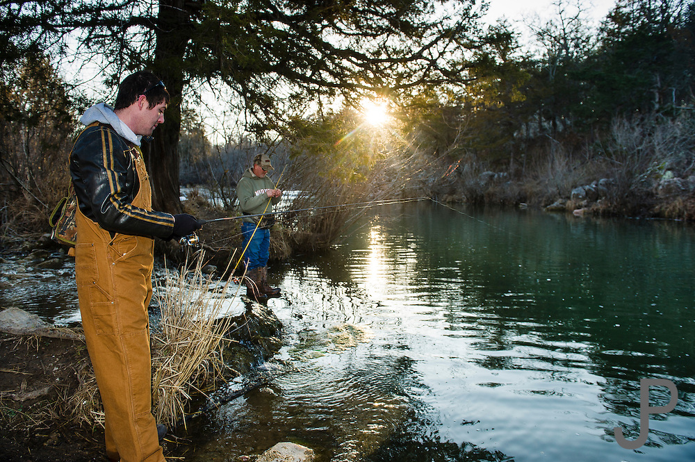 Trout fishing with Hanks family at Blue River near Tishomingo, OK