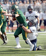 Sabetha's Elliot Strahm tackles Pratt's Travis Theis in the first quarter of the 3A state championship game Saturday, Nov. 24, 2018 in Hutchinson, Kan. [Travis Morisse]