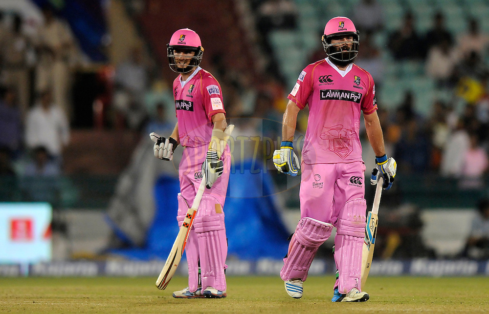 Kane Williamson of Northern Knights and Anton Devcich of Northern Knights during match 3 of the Oppo Champions League Twenty20 between the Cape Cobras and the Northern Knights held at the Chhattisgarh International Cricket Stadium, Raipur, India on the 19th September 2014<br /> <br /> Photo by:  Pal Pillai / Sportzpics/ CLT20<br /> <br /> <br /> Image use is subject to the terms and conditions as laid out by the BCCI/ CLT20.  The terms and conditions can be downloaded here:<br /> <br /> http://sportzpics.photoshelter.com/gallery/CLT20-Image-Terms-and-Conditions-2014/G0000IfNJn535VPU/C0000QhhKadWcjYs