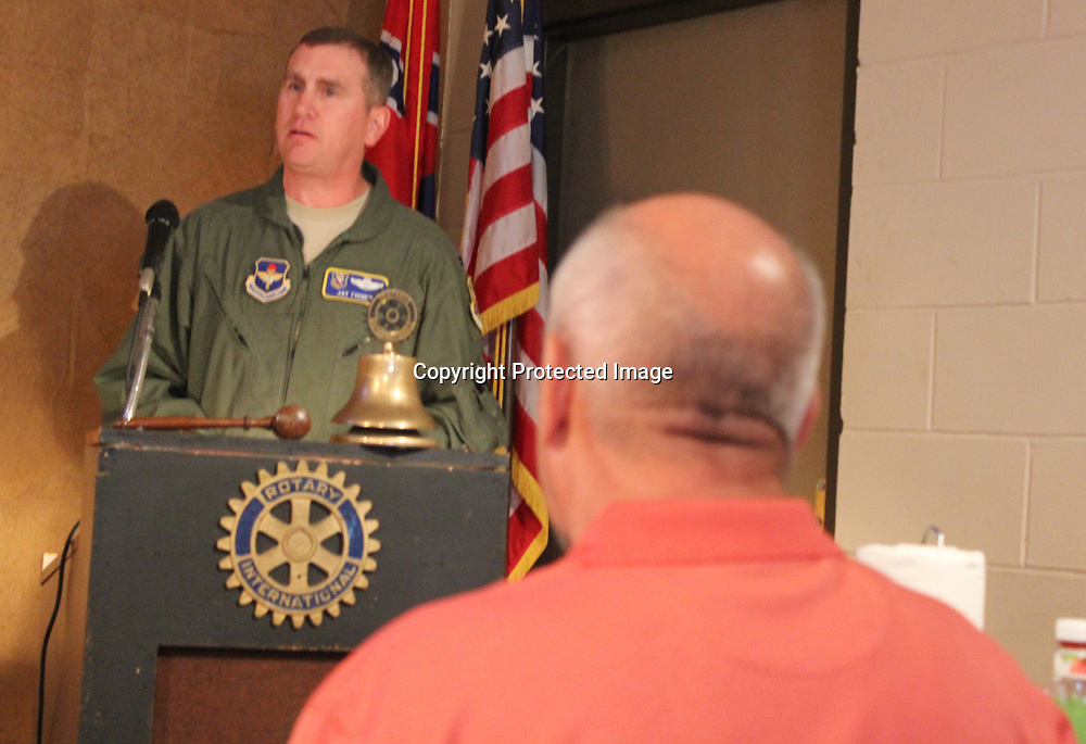 Columbus Air Force Base Vice Commander of the 14th Flying Training Wing Col. James L. Fisher recently spoke to the Aberdeen Rotary Club about the base, military life and a national shortage of pilots.