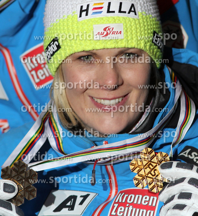 13.02.2013, Medal Plaza, Schladming, AUT, FIS Weltmeisterschaften Ski Alpin, Teambewerb, Siegerehrung, im Bild Nicole Hosp (AUT, 1. Platz) // 1st place Nicole Hosp at the Winner Award Ceremony for Nation Team Event at the FIS Ski World Championships 2013 at the Medal Plaza, Schladming, Austria on 2013/02/13. EXPA Pictures © 2013, PhotoCredit: EXPA/ Martin Huber