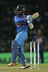 March 12, 2018 - Colombo, Sri Lanka - Indian cricketer Dinesh Karthik plays  a shot during the 4th Twenty-20 cricket match of NIDAHAS Trophy between Sri Lanka  and India at R Premadasa cricket ground, Colombo, Sri Lanka on Monday 12 March 2018. (Credit Image: © Tharaka Basnayaka/NurPhoto via ZUMA Press)