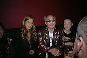 Jade Jagger, Nobuyoshi Araki  and Komari. Party given for Nobuyoshi Araki by White Cube after the opening of his SelfÇLifeÇDeath exhibition at the Barbican. Zyrus/Genesys Karaoke bar. Clerkenwell Rd. London. 5 October 2005. . ONE TIME USE ONLY - DO NOT ARCHIVE © Copyright Photograph by Dafydd Jones 66 Stockwell Park Rd. London SW9 0DA Tel 020 7733 0108 www.dafjones.com