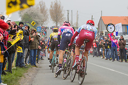 Nils Politt (GER) of Team Katusha - Alpecin (SUI,WT,Canyon) and Wout van Aert (BEL) of Team Jumbo-Visma (NED,WT,Bianchi) during the 2019 Paris-Roubaix (1.UWT) with 257 km racing from Compi&egrave;gne to Roubaix, France. 14th April 2019. Picture: Thomas van Bracht | Peloton Photos<br /> <br /> All photos usage must carry mandatory copyright credit (Peloton Photos | Thomas van Bracht)
