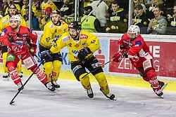 16.04.2019, Stadthalle, Klagenfurt, AUT, EBEL, EC KAC vs Vienna Capitals, Finale, 2. Spiel, im Bild Matt NEAL (EC KAC, #50), Chris DESOUSA (spusu Vienna CAPITALS, #82), Julian GROSSRECHNER (spusu Vienna CAPITALS, #22), Thomas KOCH (EC KAC, #18) // during the Erste Bank Icehockey 2nd final match between EC KAC and Vienna Capitals at the Stadthalle in Klagenfurt, Austria on 2019/04/16. EXPA Pictures © 2019, PhotoCredit: EXPA/ Gert Steinthaler