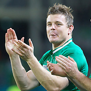 Brian O'Driscoll, Ireland, applauds the fans after the Ireland V Italy Pool C match during the IRB Rugby World Cup tournament. Otago Stadium, Dunedin, New Zealand, 2nd October 2011. Photo Tim Clayton...