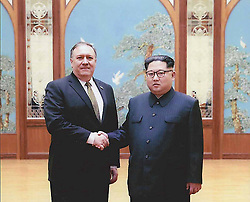 Apr 26, 2018 - North Korea. - Photos released by the White House of then CIA Director MIKE POMPEO, left,  meeting KIM JONG UN in Pyongyang over Easter weekend. (Credit Image: © White House via ZUMA Wire)