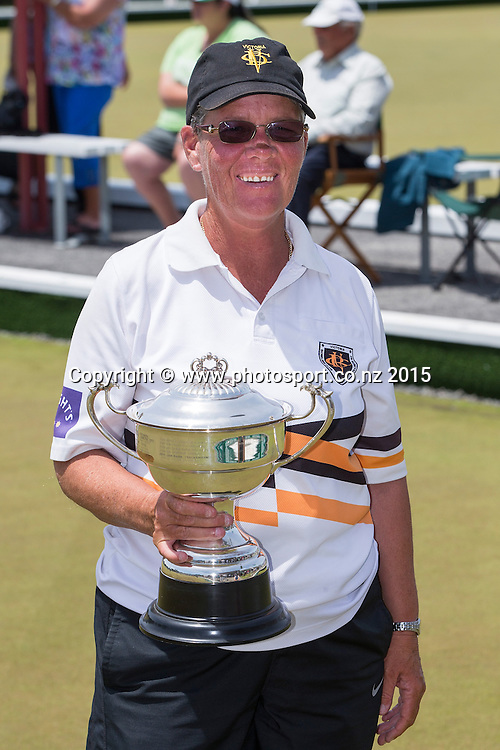 Victoria`s Leigh Griffin winner of the women`s singles at the National Open Bowls Championship 2014, Browns Bay Auckland, New Zealand, Sunday, January 04, 2015. Photo: David Rowland/www.photosport.co.nz