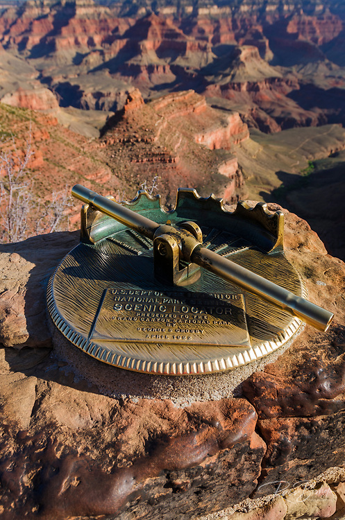 Historic scenic locator on the south rim, Grand Canyon National Park, Arizona USA