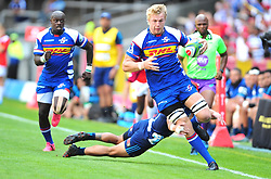 Cape Town-180317 Pieter Steph du toit  of the DHL Stomers tackled by Sam Nock of Blues in the Super Rugby tournament  at Newlands rugby stadium.Photograph:Phando Jikelo/African News Agency/ANA