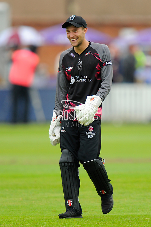 Somerset's Ryan Davies during the NatWest T20 Blast South Group match between Somerset County Cricket Club and Hampshire County Cricket Club at the Cooper Associates County Ground, Taunton, United Kingdom on 19 June 2016. Photo by Graham Hunt.