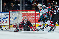 KELOWNA, CANADA - MARCH 14:  Taylor Gauthier #35 of the Prince George Cougars misses a save on a back hand by Braydyn Chizen #22 of the Kelowna Rockets on March 14, 2018 at Prospera Place in Kelowna, British Columbia, Canada.  (Photo by Marissa Baecker/Shoot the Breeze)  *** Local Caption ***