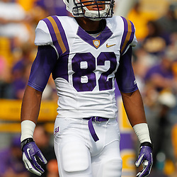 October 22, 2011; Baton Rouge, LA, USA;  LSU Tigers wide receiver James Wright (82) prior to kickoff of a game against the Auburn Tigers at Tiger Stadium.  Mandatory Credit: Derick E. Hingle-US PRESSWIRE / © Derick E. Hingle 2011