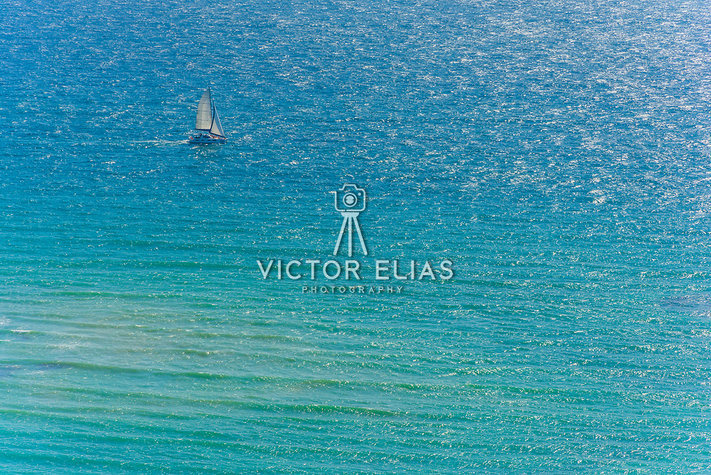 Aerial of sailboat in the Riviera Maya. Mexico.