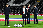 Middlesbrough players on the pitch ahead of the EFL Sky Bet Championship match between Fulham and Middlesbrough at Craven Cottage, London, England on 17 January 2020.