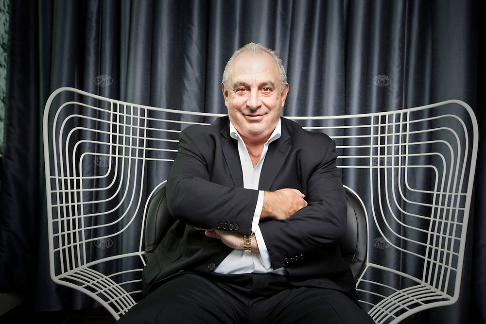 Photo ©2009 Tom Wagner,  ©Tom Wagner 2009, all rights reserved, all moral rights asserted..Sir Philip Green billionaire retailer photographed in London at the flagship TopMan and TopShop store on Oxford Street (120,000 square ft retail space). ©Tom Wagner 2009, all rights reserved, all moral rights asserted..