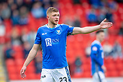 Liam Gordon (#23) of St Johnstone FC points the way during the Ladbrokes Scottish Premiership match between St Johnstone and Motherwell at McDiarmid Stadium, Perth, Scotland on 11 May 2019.