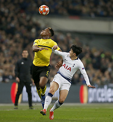 BRITAIN-LONDON-FOOTBALL-UEFA CHAMPIONS LEAGUE-TOTTENHAM VS DORTMUND.(190213) -- LONDON, Feb.13, 2019  Tottenham Hotspur's Heung-Min Son (R) competes for the ball with Borussia Dortmund's Dan-Axel Zagadou (L) during the UEFA Champions League Round of 16 1st Leg match between Tottenham Hotspur and Borussia Dortmund at Wembley Stadium in London, Britain on Feb. 13, 2019. Tottenham Hotspur won 3-0.  FOR EDITORIAL USE ONLY. NOT FOR SALE FOR MARKETING OR ADVERTISING CAMPAIGNS. NO USE WITH UNAUTHORIZED AUDIO, VIDEO, DATA, FIXTURE LISTS, CLUB/LEAGUE LOGOS OR ''LIVE'' SERVICES. ONLINE IN-MATCH USE LIMITED TO 45 IMAGES, NO VIDEO EMULATION. NO USE IN BETTING, GAMES OR SINGLE CLUB/LEAGUE/PLAYER PUBLICATIONS. (Credit Image: © Xinhua via ZUMA Wire)