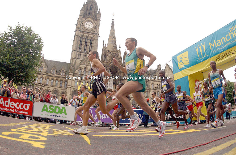 28 July 2002, Manchester Town Hall, Commonwealth Games Manchester England, The start of the mens marathon.