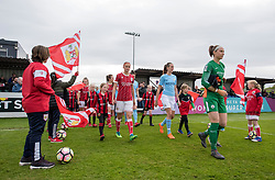 Players and mascots walk to the pitch at Stoke Gifford Stadium - Mandatory by-line: Paul Knight/JMP - 03/05/2018 - FOOTBALL - Stoke Gifford Stadium - Bristol, England - Bristol City Women v Manchester City Women - FA Women's Super League 1
