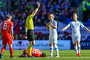 Slovakia midfielder Stanislav Lobotka gets a yellow card for a foul on Wales midfielder Harry Wilson during the UEFA European 2020 Qualifier match between Wales and Slovakia at the Cardiff City Stadium, Cardiff, Wales on 24 March 2019.