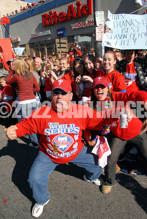 PHILADELPHIA, PA - OCTOBER 31: Philadelphia Phillies fans celebrate during the World Championship Parade October 31, 2008 in Philadelphia, Pennsylvania. The Phillies defeated the Tampa Bay  Rays to win their first World Series in 28 years. (Photo by William Thomas Cain/Getty Images)