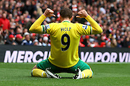 Picture by Paul Chesterton/Focus Images Ltd.  07904 640267.05/05/12.Grant Holt of Norwich scores his sides 2nd goal and celebrates during the Barclays Premier League match at The Emirates Stadium, London.