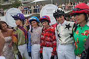 EDIE CAMPBELL; GINA BRYCE; ALYSEN MILLER; TRISH SIMONON; SARA COX, Ladies Day, Glorious Goodwood. Goodwood. August 2, 2012