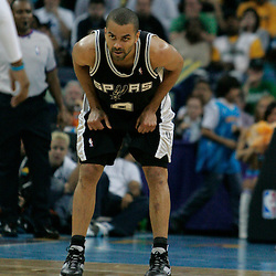 29 March 2009: San Antonio Spurs guard Tony Parker (9) on the court during a 90-86 victory by the New Orleans Hornets over Southwestern Division rivals the San Antonio Spurs at the New Orleans Arena in New Orleans, Louisiana.