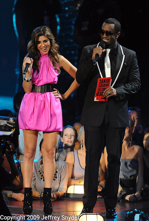 New York, NY-September 13, 2009: Jamie Lynn Sigler and Diddy performsduring the MTV Video Music Awards at Radio City Music Hall on September 13, 2009 in New York City (Photo by Jeff Snyder/PictureGroup)